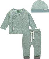 Noppies Unisex Set(3delig) Overslag shirt, Legging en Mutsje Mint Grijs - Maat 50