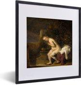 Foto in lijst - Suzanna - Schilderij van Rembrandt van Rijn fotolijst zwart met witte passe-partout 40x50 cm - Poster in lijst (Wanddecoratie woonkamer / slaapkamer)