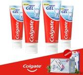 Colgate Tandpasta Fresh Gel 75ml - 4 Pack + Gratis Oramint Oral Care Kit
