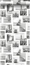 ESTAhome behang foto collage strand donkergrijs en wit