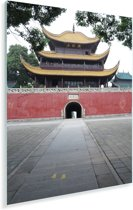 Vooraanzicht van de Yueyang toren in het Chinese Yueyang Plexiglas 80x120 cm - Foto print op Glas (Plexiglas wanddecoratie)