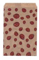 Papieren zakjes 10x16 cm bruin met lieveheersbeestjes 50 stuks - 50 grams natron kraft papier