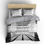 Nightlife Blue Dekbedovertrek Big City 140x200/220cm - Katoen - Grijs