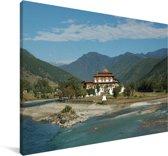 Landschap rondom het Aziatische klooster Punakha Dzong Canvas 180x120 cm - Foto print op Canvas schilderij (Wanddecoratie woonkamer / slaapkamer) XXL / Groot formaat!