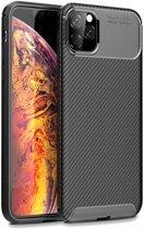 Apple iPhone 11 Pro Max Siliconen Carbon Hoesje Zwart
