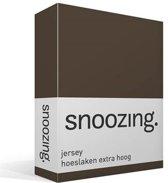 Snoozing Jersey - Hoeslaken Extra Hoog - 100% gebreide katoen - 80/90x200 cm - Bruin