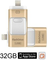 DrPhone Flashdrive 32 GB USB Stick iPhone / iPad / Samsung USB Stick - Micro USB Naar USB Type A - Geheugenstick Data Transfer -  Geschikt voor Android  / Apple  / Mac / Windows - Overzetten bestanden - Plug & Play + Extra Opslag - Goud