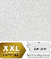 Uni kleuren behang EDEM 9011-37 vliesbehang gestempeld in spachtelputz look glimmend crème wit zilver 10,65 m2