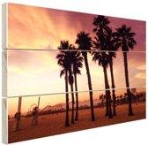 Santa Monica Beach LA Hout 120x80 cm - Foto print op Hout (Wanddecoratie)