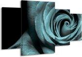Canvas schilderij Roos | Grijs, Zwart | 160x90cm 4Luik