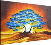 Schilderij handgeschilderd Boom | Blauw , Bruin , Oranje | 120x70cm 1Luik