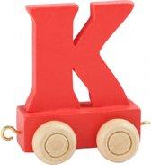 Houten lettertreintje K, rood
