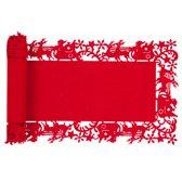 Tafelloper Kerst - Rendier Slee Kerstman - Rood ca.30 x 120 cm