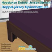 Homéé - Hoeslaken Double dik jersey stretch 210g. p/m2 100% katoen - donker paars - 90/100x200 +30cm