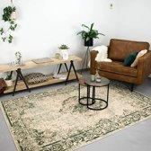 Fraai Vintage Vloerkleed - Vloerkleed - 160x230 cm - Famous Creme/Groen