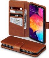 Qubits - luxe echt lederen wallet hoes - Samsung Galaxy A50 - Cognac