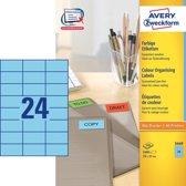 Huismerk Avery 3449 Gekleurde Etiket 70x37mm Blauw