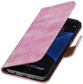 Samsung Galaxy S7 Edge Hoesje Hagedis Bookstyle Roze