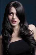 Luxe pruik Nicole met lang golvend donkerbruin haar | Wasbaar - Stijlbaar