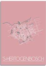 Plattegrond s-Hertogenbosch Stadskaart poster DesignClaud - Roze - A2 + fotolijst zwart