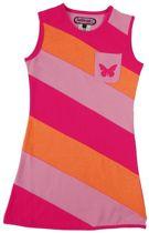 Happy Nr. 1-jurk, zomerjurk-kleur: roze, fuchsia, oranje gestreept-maat 128
