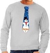 Foute kersttrui / sweater stropdas met sneeuwpop print grijs voor heren L (52)