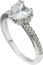 Diamonfire - Zilveren ring met steen Maat 18.5 - Steenmaat 8.5 mm - Chatonzetting