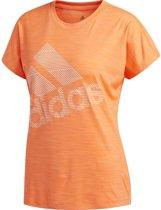 adidas SS BOS LOGO TEE Dames Sportshirt - Hi-Res Coral - Maat M