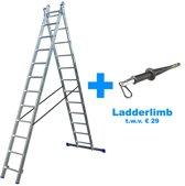 Alumexx Reformladder 2x12 sporten - Met Stabiliteitsbalk - Werkhoogte 5.75m