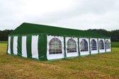 Partytent 6x12 Premium PVC Brandvertragend | Wit / groen
