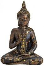 Boeddha beeld zwart/goud 28 cm van polystone
