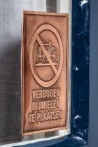 Verboden fietsen te plaatsen   VINTAGE LOOK KOPER   geen fietsen   verboden fietsen te plaatsen   verboden voor fietsen   deurbordje   raamsticker