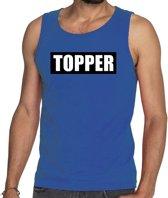 Topper  in kader tanktop heren blauw  / mouwloos shirt Topper in zwarte balk - heren S
