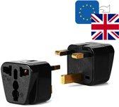 TravelBuddy Reisstekker – EU naar UK - Type G - Engeland - Verenigd Koninkrijk - Schotland - Ierland - Afrika - Dubai - Plug - Reis Verloopstekker - Wereldstekker - Oplader - Adapter - Zwart