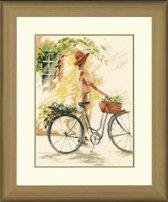 borduurpakket 34805 willem haenraets, meisje op fiets