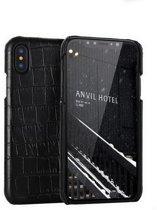 Lederen Back Cover voor iPhone X / XS - Echt Leer - Zwart