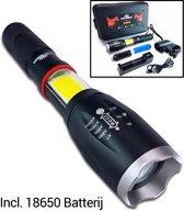 Militaire LED Zaklamp 1000 Lumen - 18650 Oplaadbare Batterij -  Professioneel met Accu + Oplader - Fietshouder