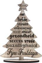 Originele houten wenskaart - kerstkaart van hout - kerst 2019 & 2020 - kerstboom