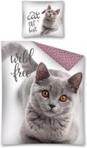Poes - kat - dekbedovertrek - Wild and free - eenpersoons 140 x 200 cm