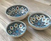 Tapas setje 3 delig Turquoise blue fine | TB.TP.3D | Dishes & Deco