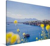De kust van het Turkse Antalya Canvas 140x90 cm - Foto print op Canvas schilderij (Wanddecoratie woonkamer / slaapkamer)
