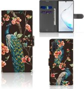 Samsung Galaxy Note 10 Plus Telefoonhoesje met Pasjes Pauw met Bloemen