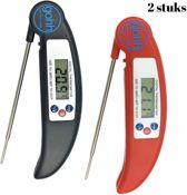 2 Digitale Kookthermometers (1 rood en 1 zwart)  van -50°C tot 300°C