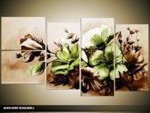 Acryl Schilderij Bloemen   Bruin, Groen   130x70cm 5Luik Handgeschilderd