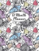 12 Month Planner: 1 Year Monthly Weekly Calendar Book, B&W Interior, Undated, Begin In Any Month, Notes, Contacts, Passwords, Butterflie