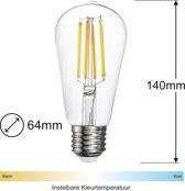 Zigbee Filament LED lamp   64mm   Instelbaar 2700K tot 6500K   Vervangt 60W gloeilamp   Grote fitting E27   compatible met Philips Hue en IKEA Home smart*