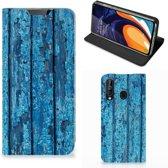 Samsung Galaxy A60 Book Wallet Case Blauw Wood
