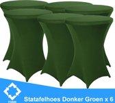 Statafelrok Luxe Donker Groen x 6 - Statafel Tafelrok - Statafelhoes - Stretch –  ∅80 x 110 cm – geschikt voor Horeca Evenementen | Sta Tafel Hoes | Statafel | Staantafelhoes | Cocktailparty | Trouwerij | Sta-tafel rok – 6 stuks - SET VAN 6