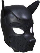 Neoprene Puppy Dog BDSM Hood - zwart - maat L