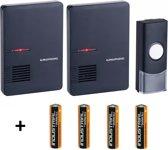 Grundig Draadloze Deurbel met 2 draagbare ontvanger Inclusief Duracell Batterijen